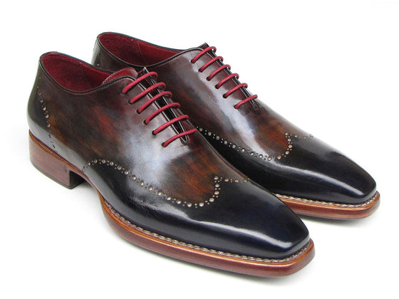 Shoes - Paul Parkman Men's Wingtip Oxford Goodyear Welted Navy/ Red/ Black (ID#081-MIX)