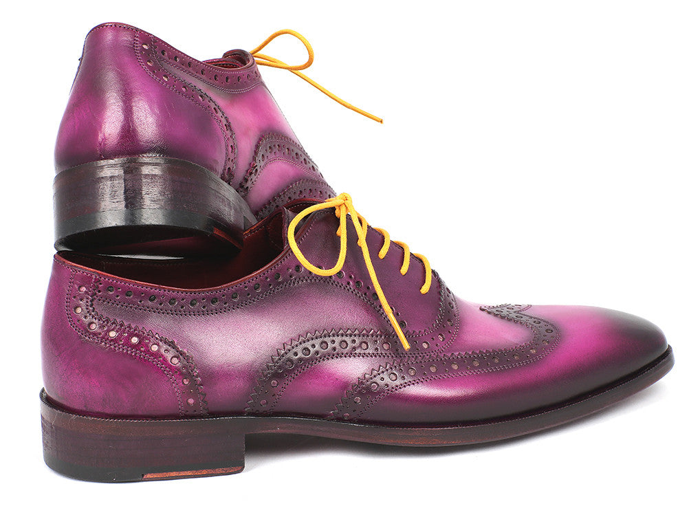 Shoes - Paul Parkman Men's Wingtip Oxfords Lilac Handpainted Calfskin (ID#228-LIL)