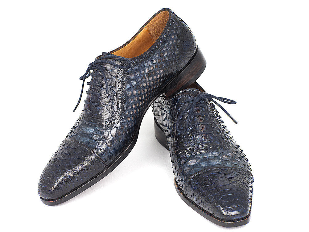 5e1c85f9f2c37 Paul Parkman Navy Genuine Python Captoe Oxfords - TieThis Neckwear and  Accessories and TieThis.com