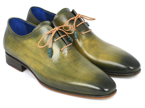 Shoes - Paul Parkman Plain Toe Wholecut Oxfords Green Hanpainted Leather (ID#755-GRN)