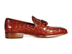Paul Parkman Crocodile Embossed Calfskin Tassel Loafer - TieThis Neckwear and Accessories and TieThis.com