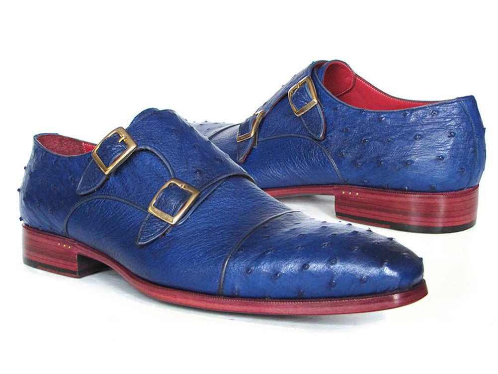 Shoes - Paul Parkman Sax Blue Genuine Ostrich Double Monkstraps (ID#37U33)