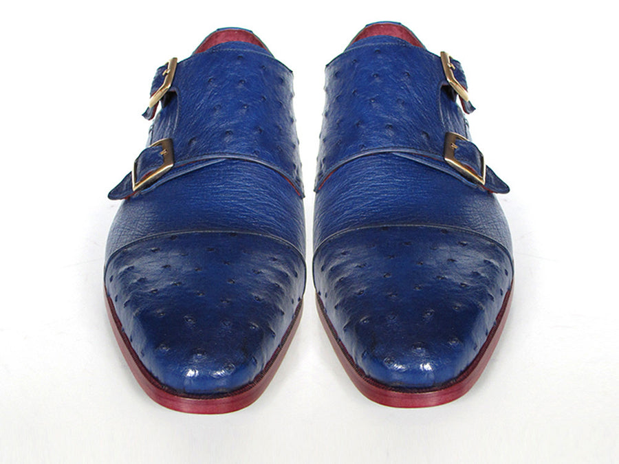 Paul Parkman Blue Genuine Ostrich Double Monkstraps - TieThis Neckwear and Accessories and TieThis.com
