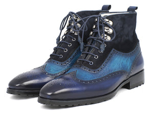 Paul Parkman Wingtip Boots Blue Suede & Leather - TieThis Neckwear and Accessories and TieThis.com