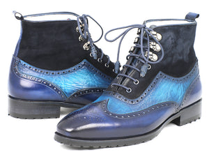 Paul Parkman Wingtip Boots Blue Suede & Leather - TieThis® Neckwear and Accessories