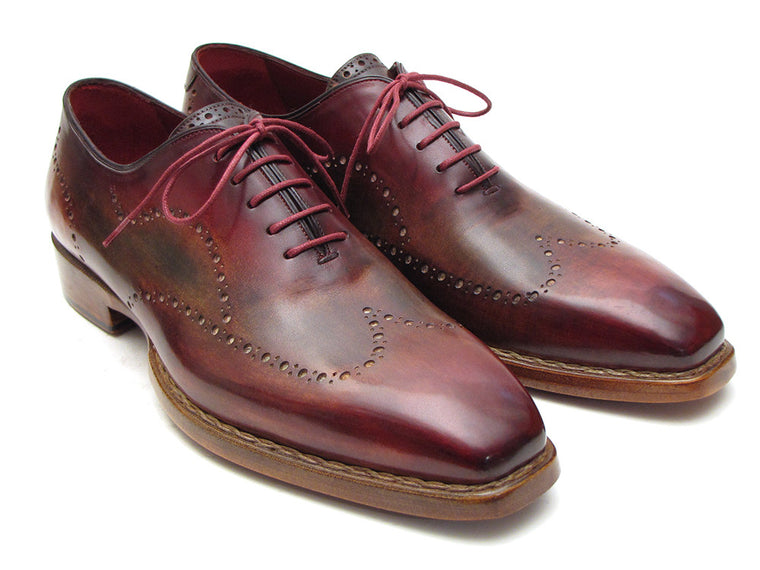 Shoes - Paul Parkman Wingtip Oxford Goodyear Welted Bordeaux & Light Brown (ID#087LX)