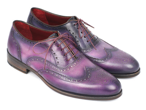 Shoes - Paul Parkman Wingtip Oxfords Purple & Navy Handpainted Calfskin (ID#743-PURP)