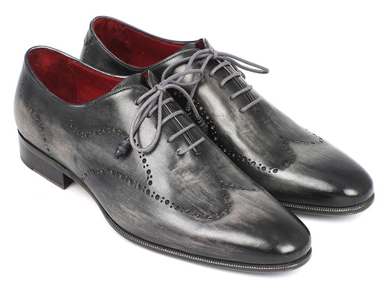 Shoes - Paul Parkman Wintip Oxfords Gray & Black Handpainted Calfskin (ID#741-GRY)