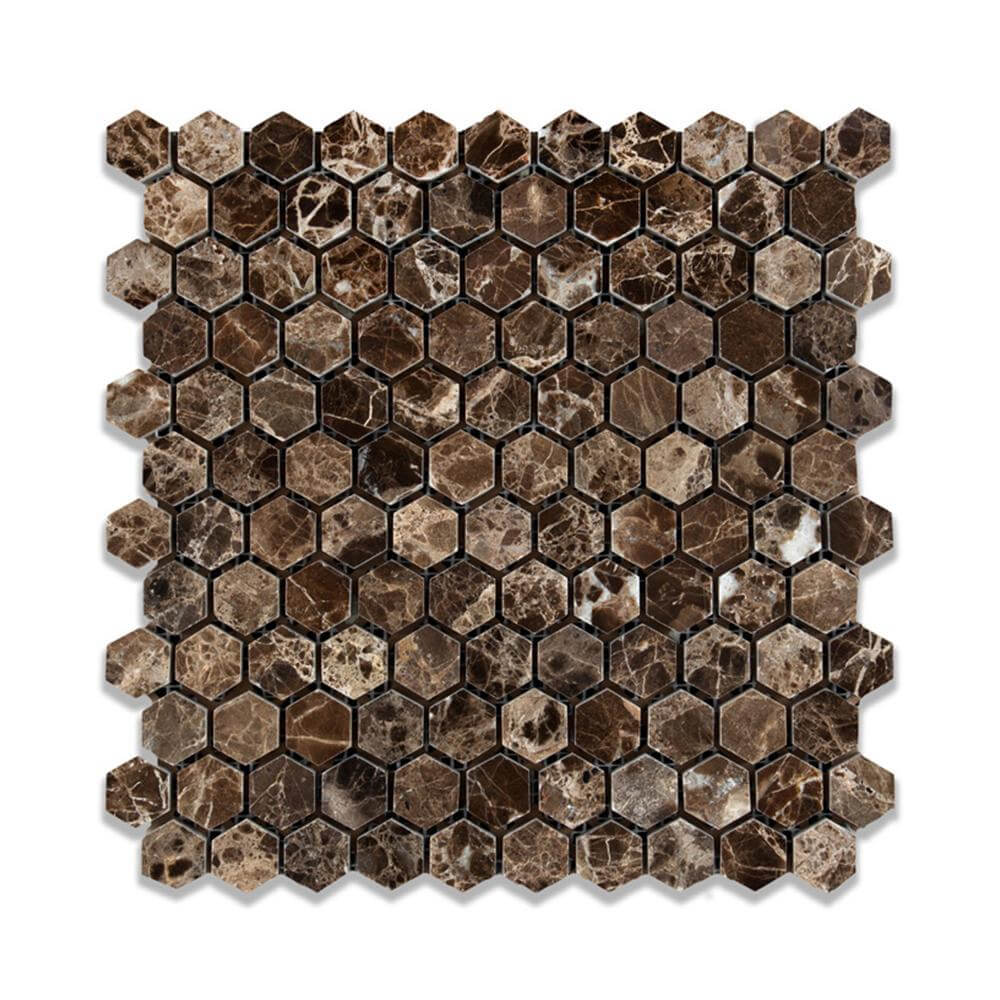 Emperador Dark Marble Hexagon Mosaic