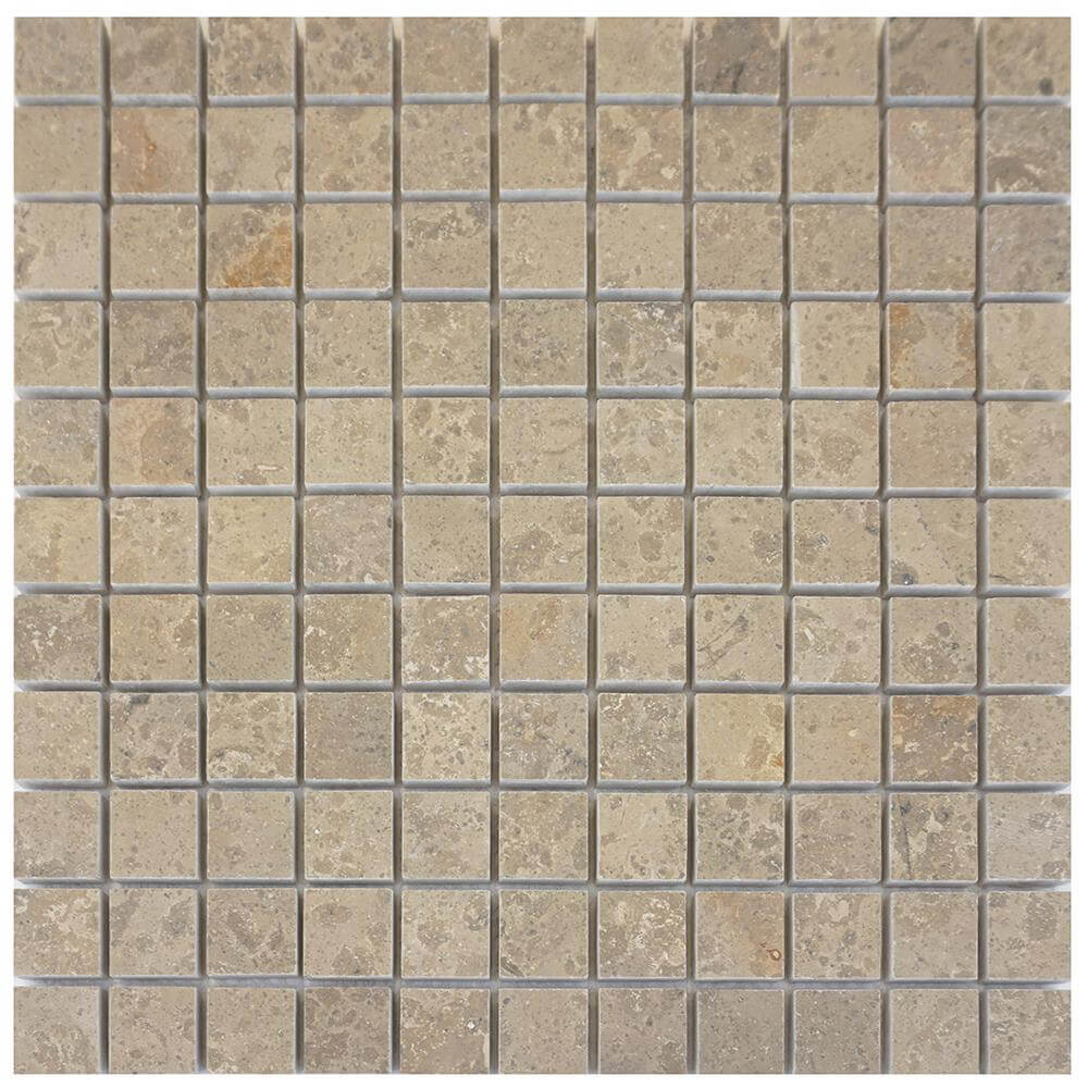 Jura Grey Limestone Square Mosaic 1x1 Honed