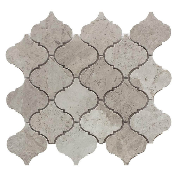 Arctic Grey Marble Arabesque Mosaic 4x4 Polished