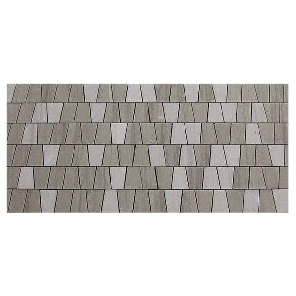 Athens Grey Marble Geo Mosaic Multi Size Mixed Finish