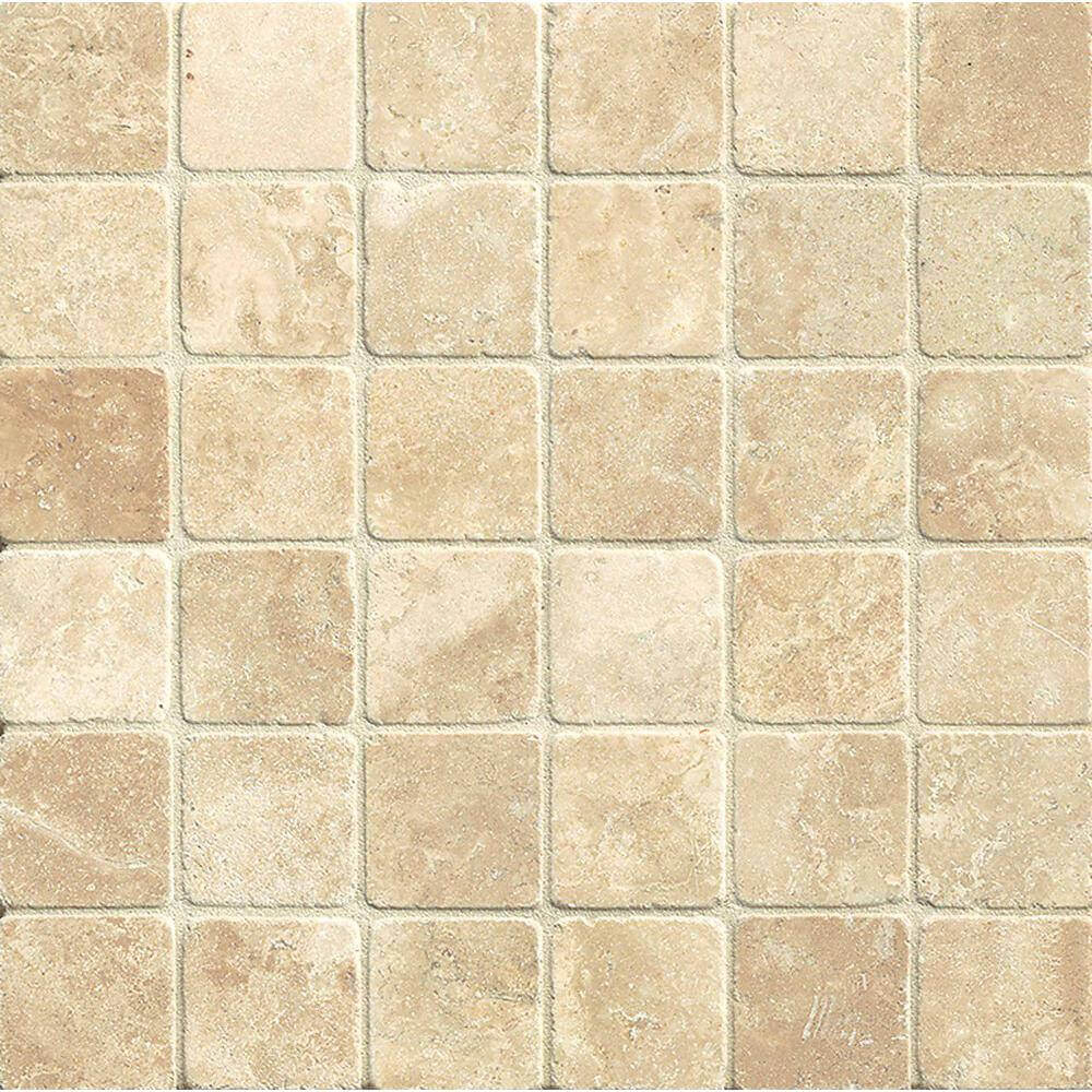 Torreon Travertine Square Mosaic 2x2 Tumbled