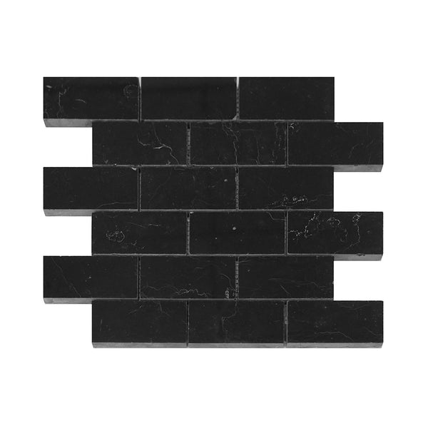 Nero Marquina Marble Brick-Offset Mosaic Polished