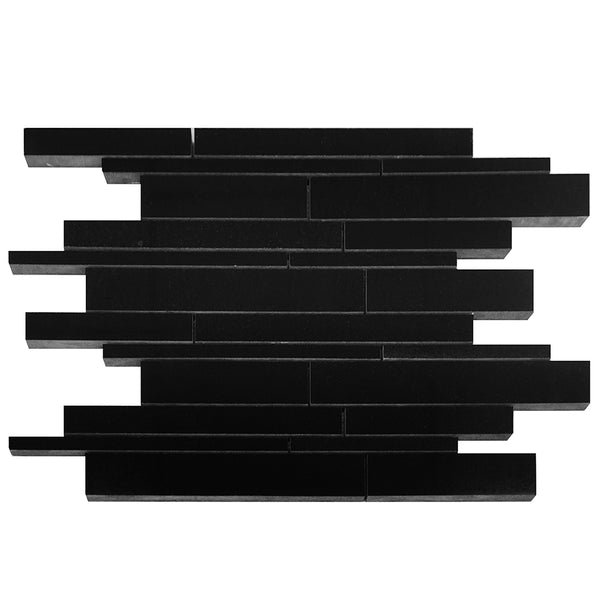 Absolute Black Granite Linear Offset Mosaic Multi-size Polished