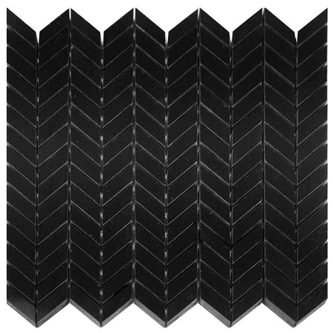 Absolute Black Granite Chevron Mosaic Polished