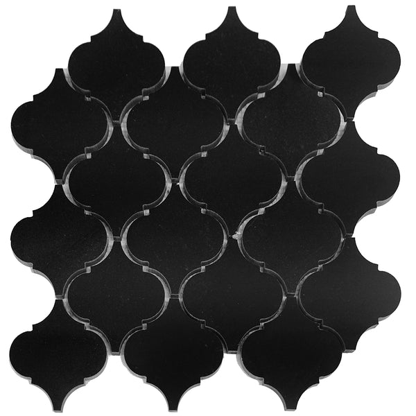 Absolute Black Granite Arabesque Mosaic 4x4 Polished
