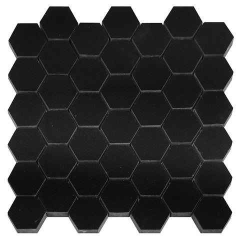 Absolute Black Granite Hexagon Mosaic 2x2 Polished