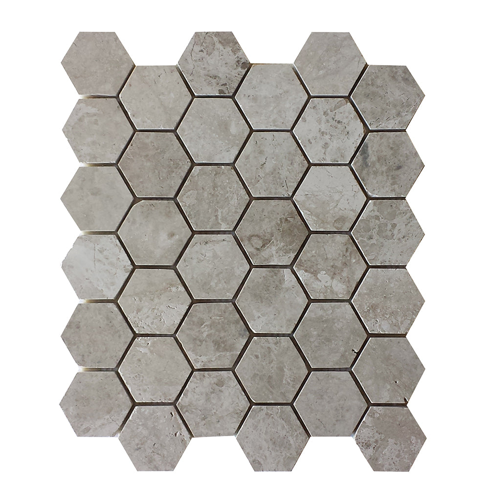 Arctic Grey Marble Hexagon Mosaic 2x2 Polished