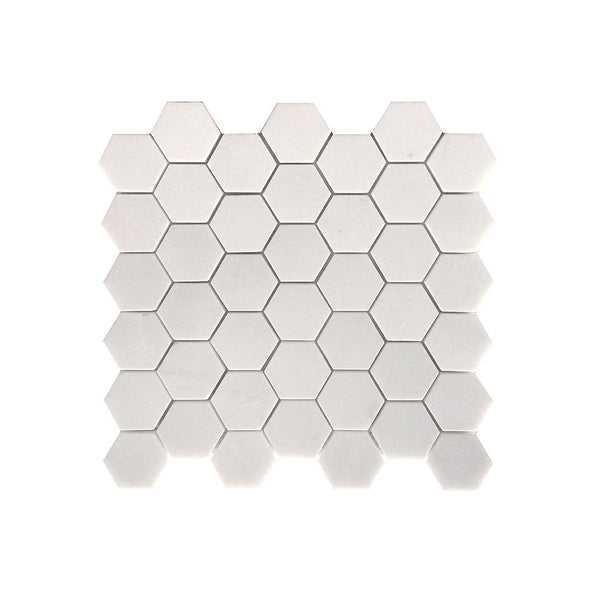 Thassos White Marble Hexagon Mosaic