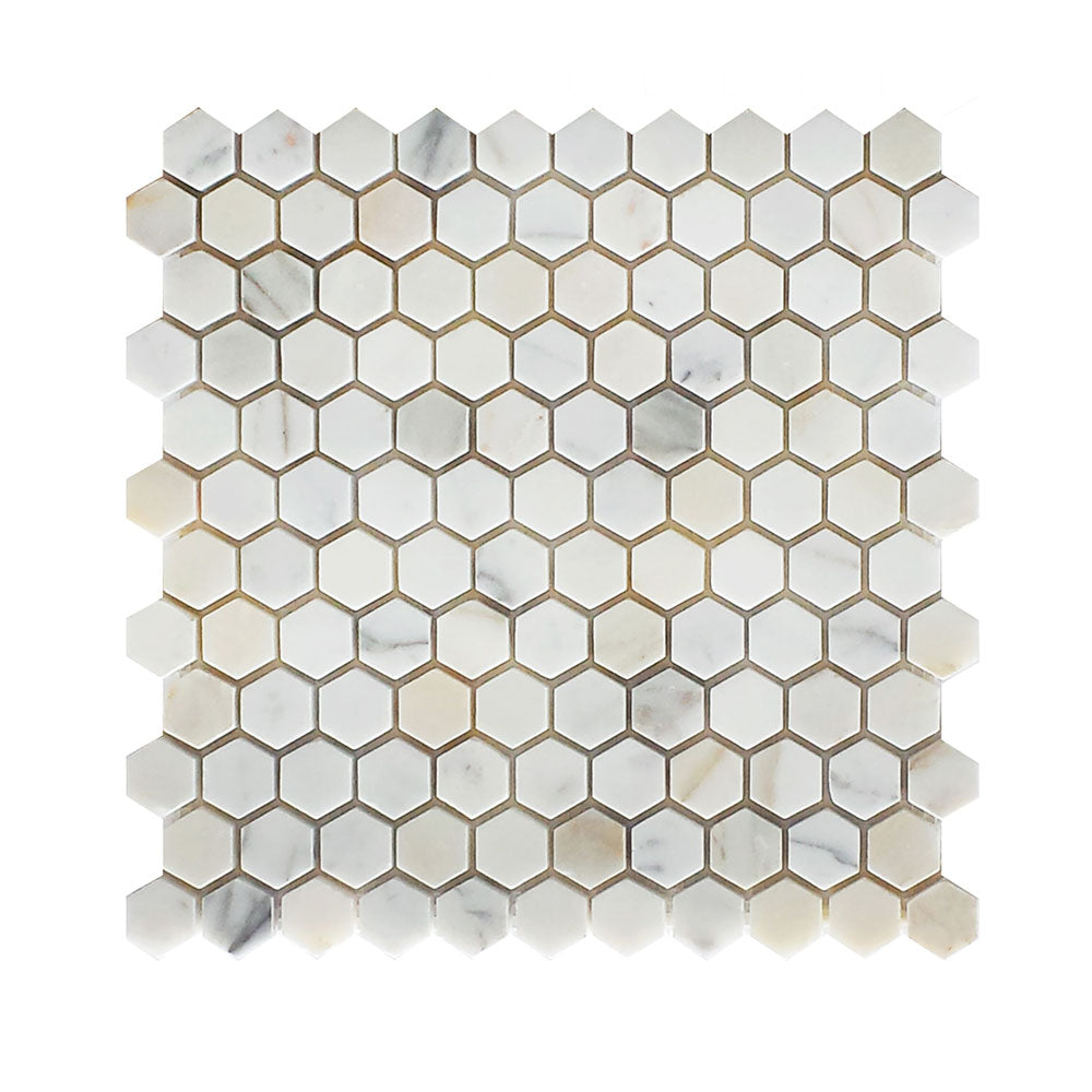 Calacatta Gold Marble Hexagon Mosaic