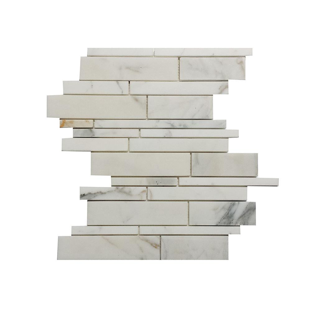 Calacatta Gold Marble Linear Offset Mosaic