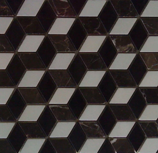 3 Tone Diamond Hex Marble Mosaic