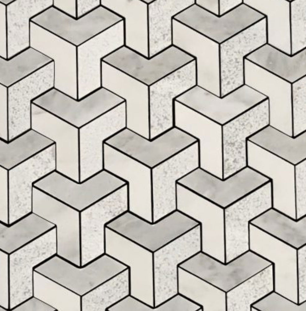 3D Point Cube Stone Mosaic