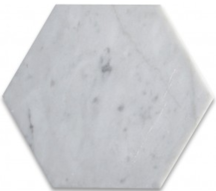 "Carrara Marble 6"" Hexagon Mosaic"