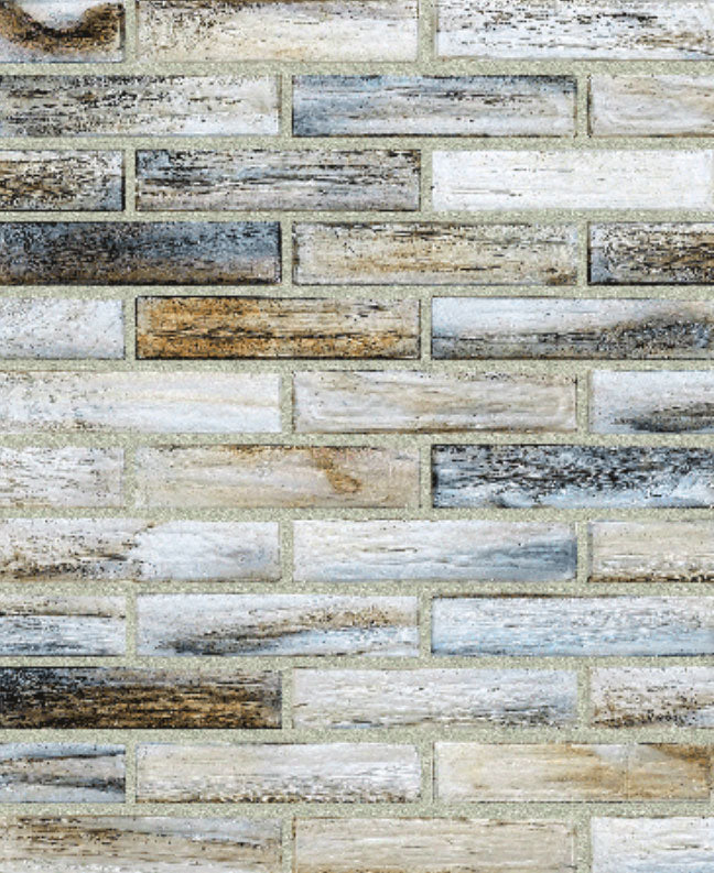 1x4 Brick Offset Shimmer Glass Mosaic