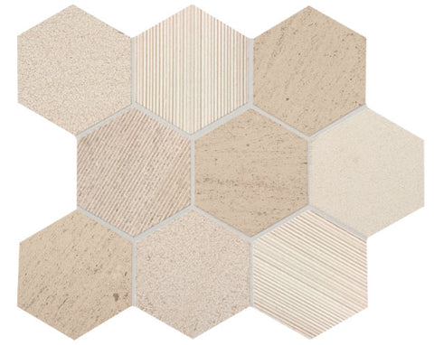 "Ascend 4""x 4"" Hexagon Limestone Mosaic"