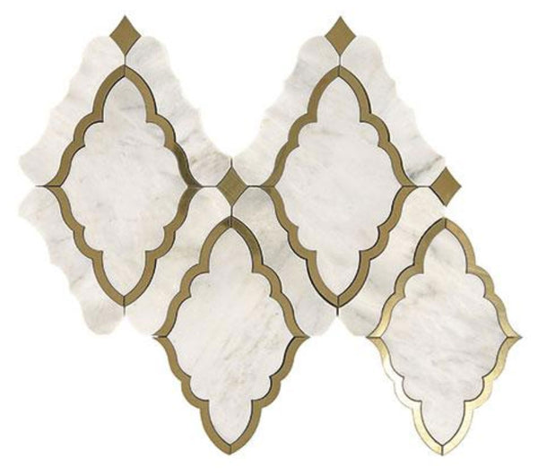 Baroque White and Brass Water Jet Mosaic