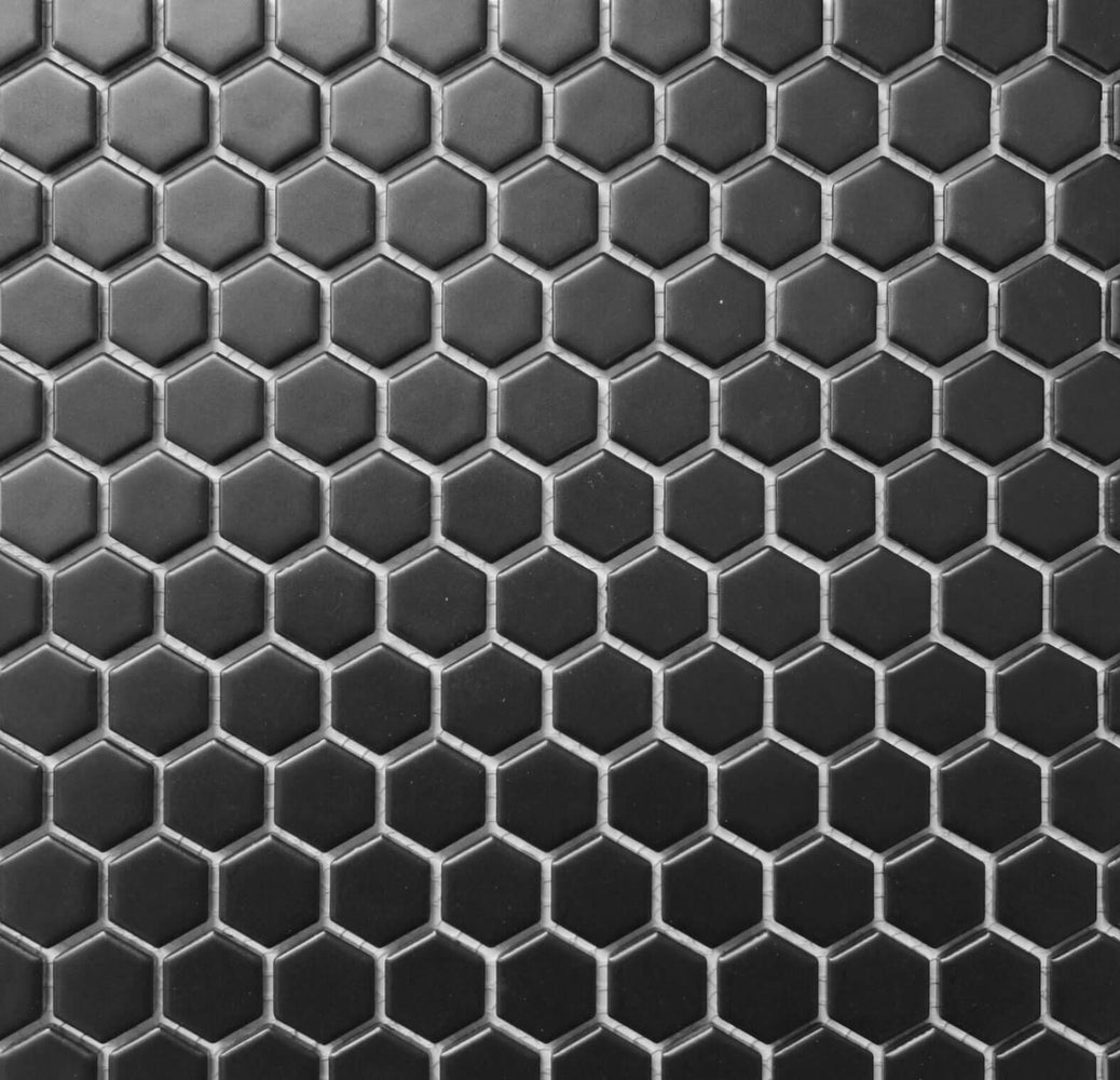 Black Matte Porcelain Hexagon Mosaic
