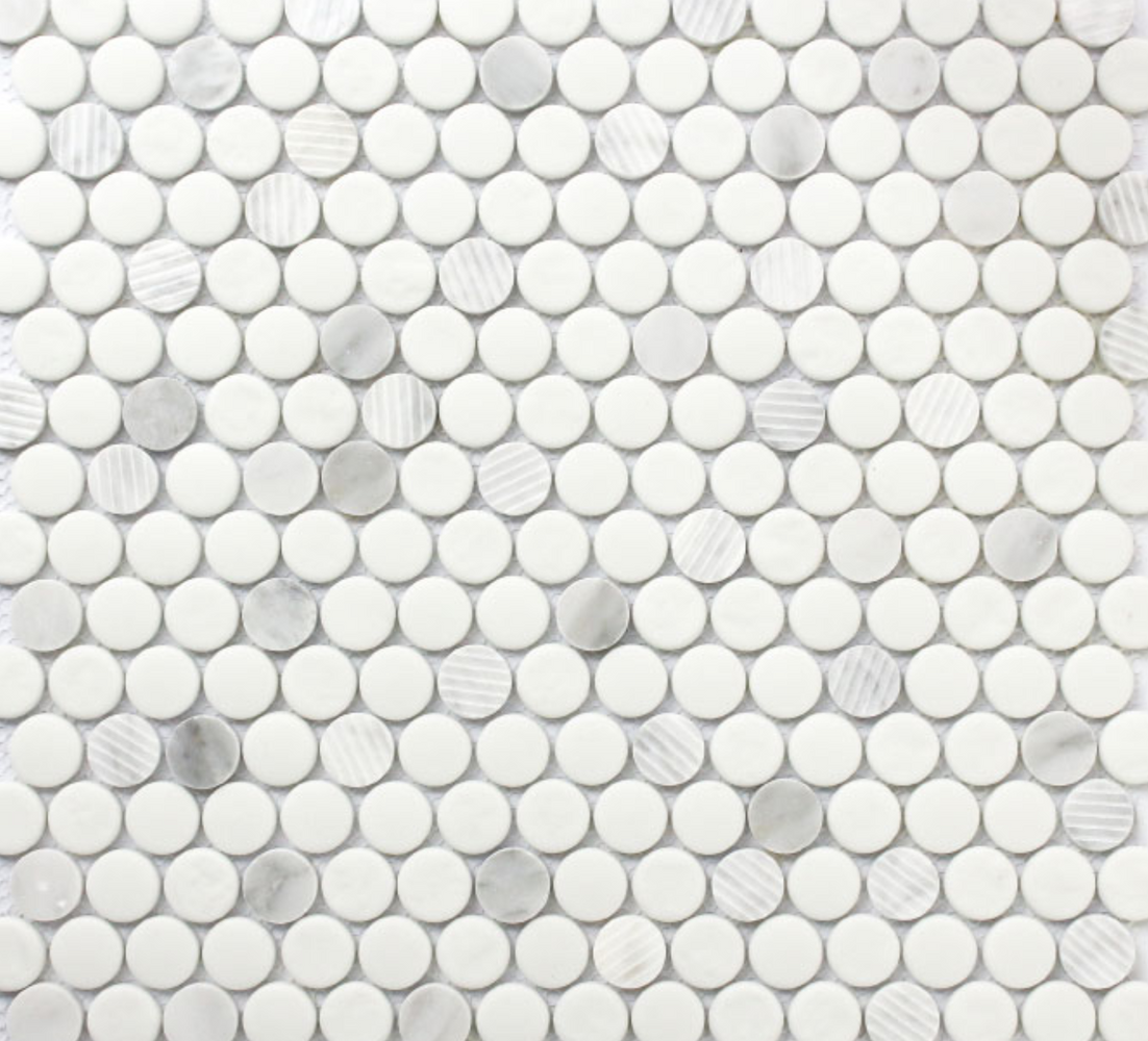 Rock Art Recycled Glass Carrara White Penny Round Mosaic