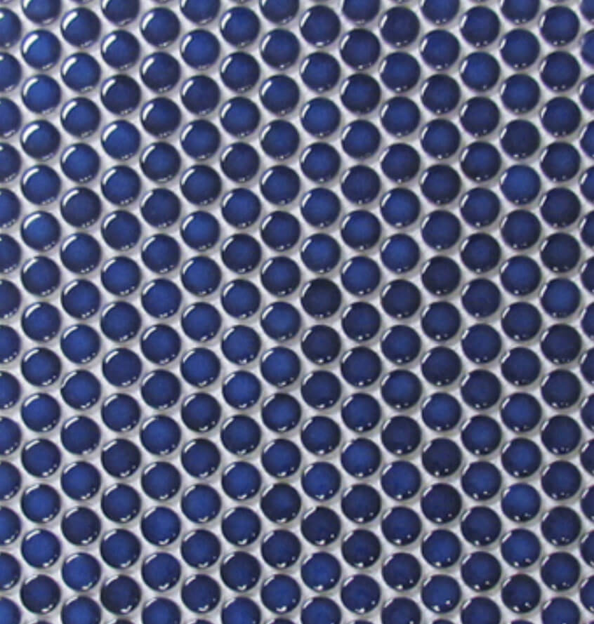 Cobalt Glossy Porcelain Penny Round Mosaic