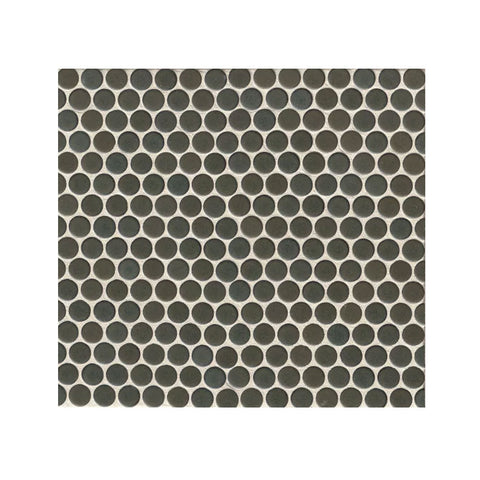 "360 3/4"" x 3/4"" Floor and Wall Penny Round Mosaic in Iron"