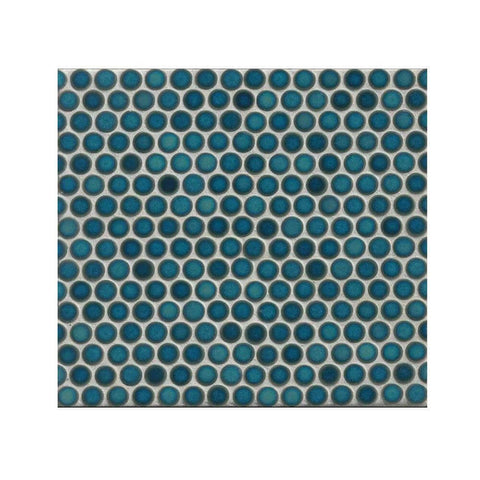 "360 3/4"" x 3/4"" Floor and Wall Penny Round Mosaic in Lagoon"