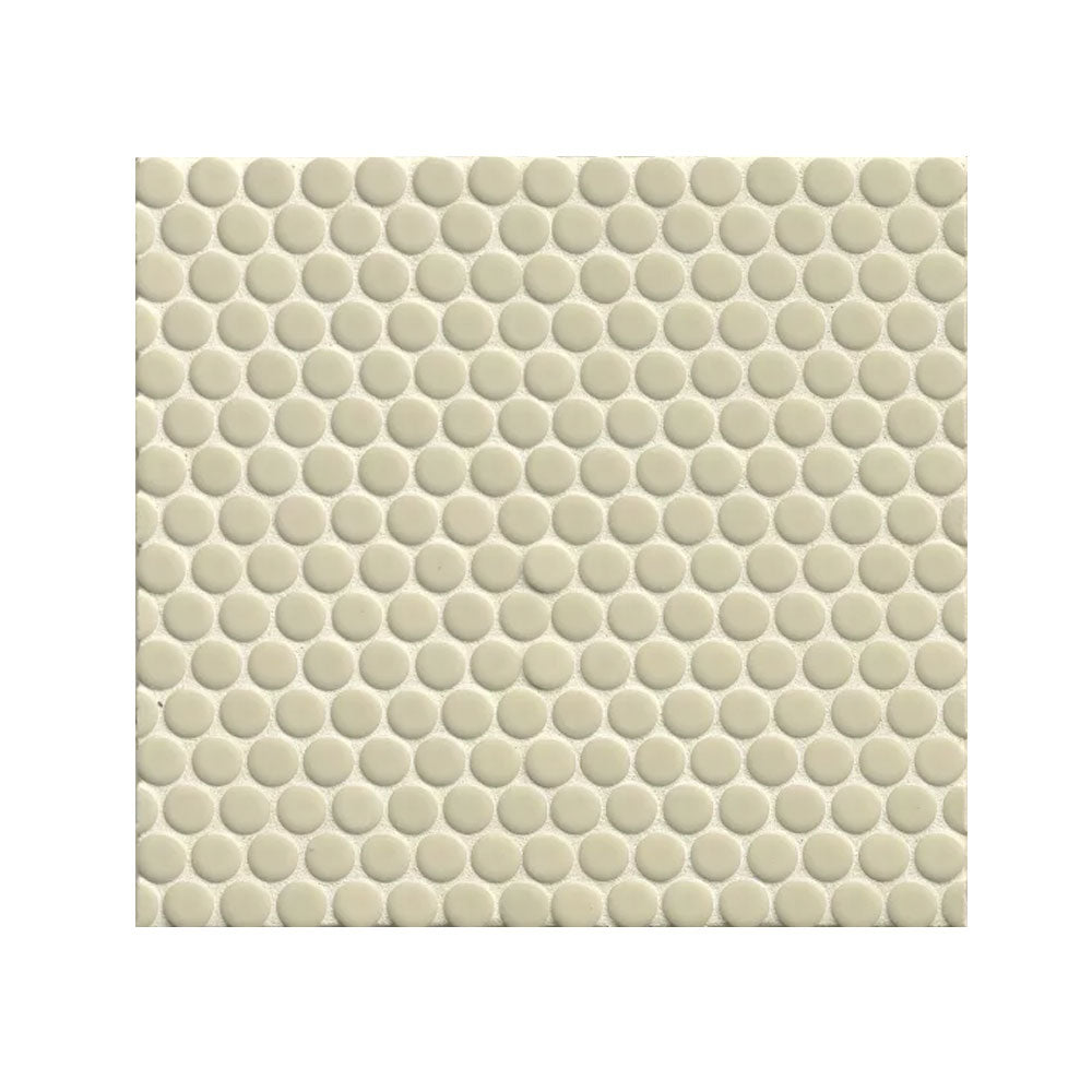"360 3/4"" x 3/4"" Floor and Wall Penny Round Mosaic in Off White Gloss"