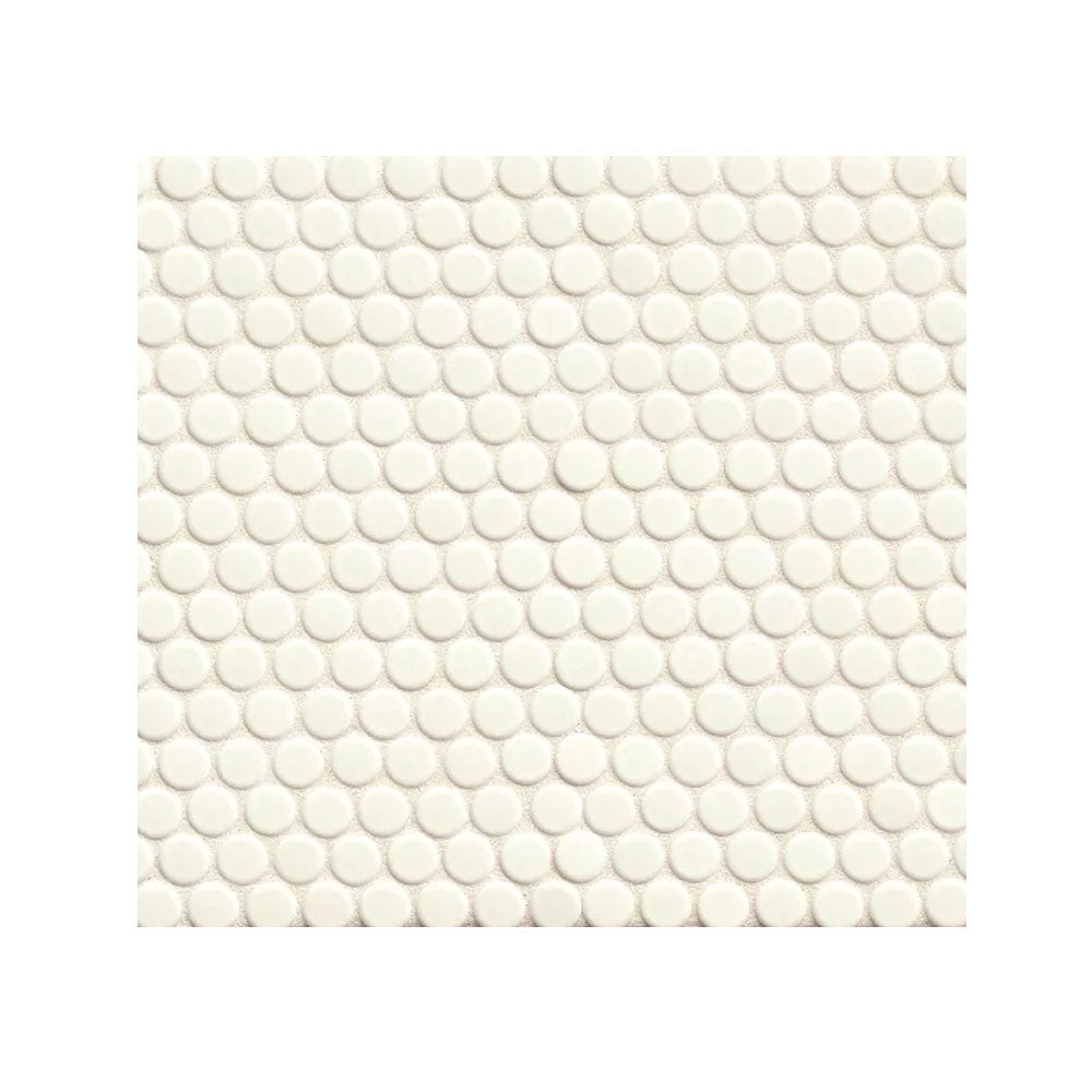 "360 3/4"" x 3/4"" Floor and Wall Penny Round Mosaic in White Gloss"