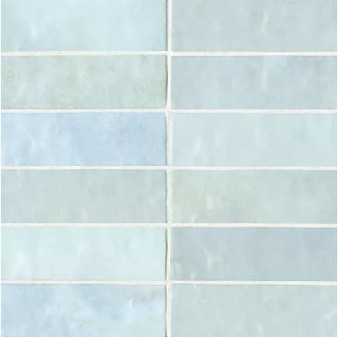 "Ceramic Cloe 2.5"" x 8"" Wall Tile in Baby Blue"