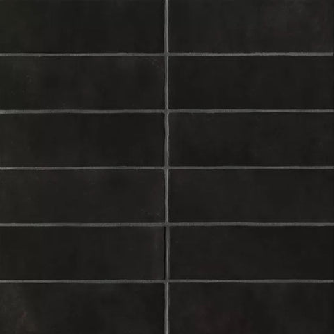 "Ceramic Cloe 2.5"" x 8"" Wall Tile in Black"