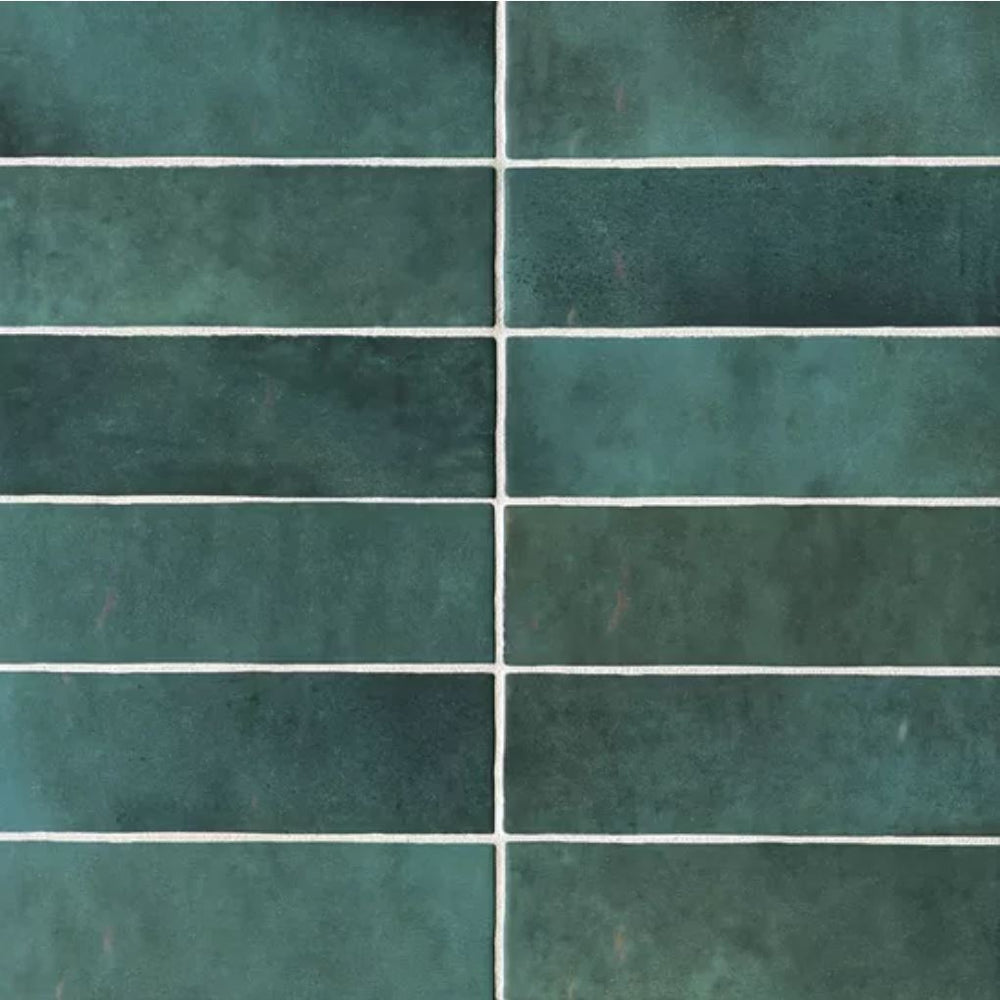 "Ceramic Cloe 2.5"" x 8"" Wall Tile in Green"