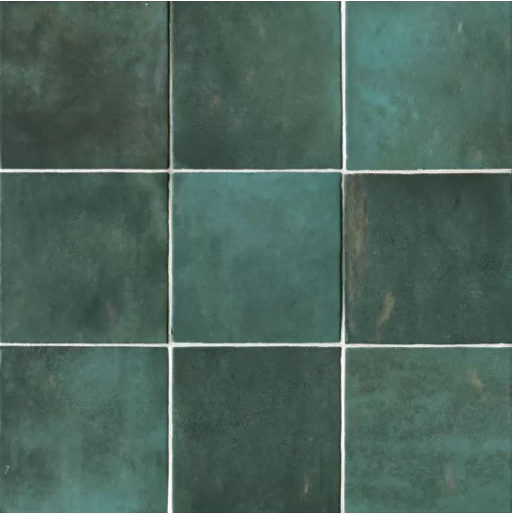 "Ceramic Cloe 5"" x 5"" Wall Tile in Green"