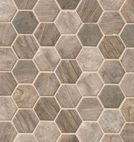 Driftwood Hexagon Glass Mosaic