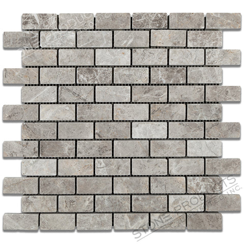 Arctic Grey Tumbled Brick Mosaic (12x12)