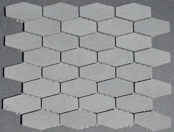 Grey Basalt Elongated Hexagon Mosaic Honed
