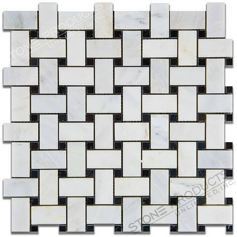 Calacatta Bella Honed Basketweave w/ Black Dot (12x12)
