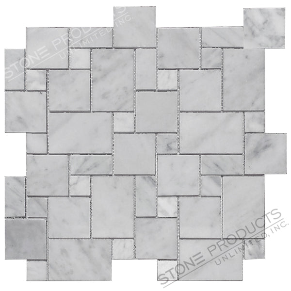 Carrara White Polished Mini Versailles Mosaic
