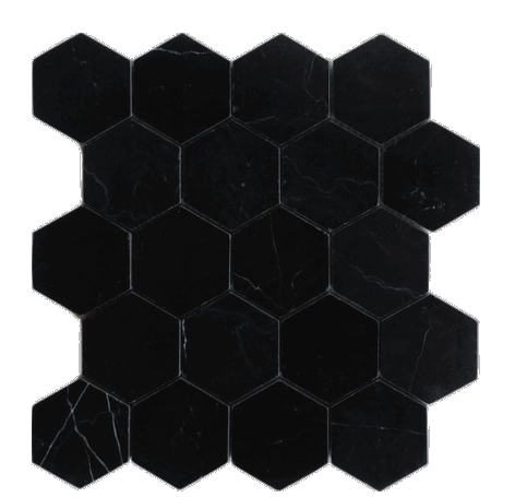 Nero Marquina Marble Hexagon Mosaic Polished