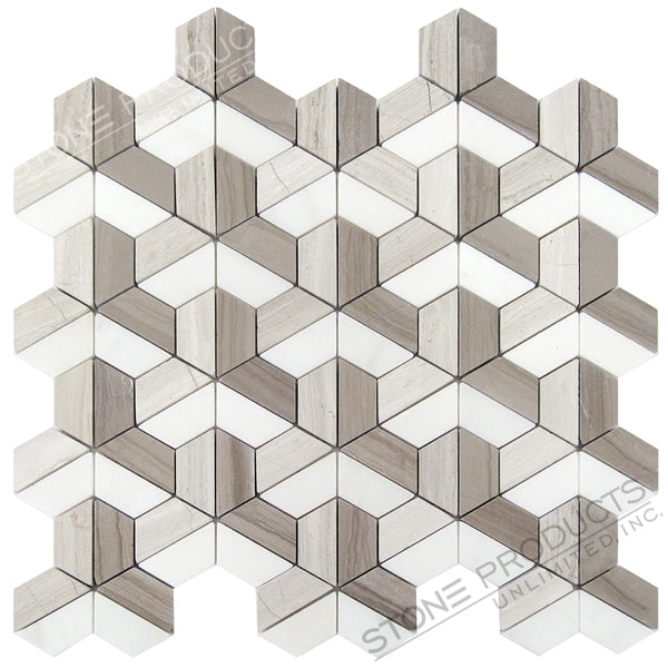 3 Shades of Grey Honed Stone Blend Trinity Hexagon Mosaic
